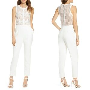 NEW Adelyn Rae White Melody Lace Bodice Jumpsuit